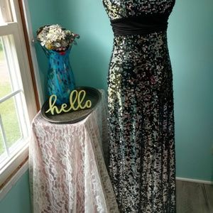 Speckles Dresses - Speechless Juniors Black with Silver Sequin Dress